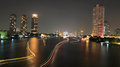 Light trails on Chao Phraya River Royalty Free Stock Photography