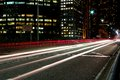 Light trails left on sydney s cahill expressway Stock Photos