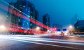 The light trails on modern building background in shanghai china Stock Image