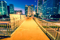 Light trails on the modern city at dusk in beijing china Royalty Free Stock Photos