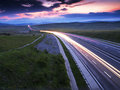Light trails on motorway highway at night Royalty Free Stock Photo