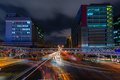 Light trails night scene of taipei city with traffic Stock Images