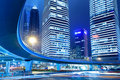 Light trails on shanghai downtown at night Royalty Free Stock Photography