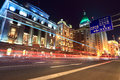 Light trails on the street in shanghai bund Stock Image