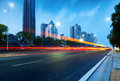 Light trails on the street in shanghai china Stock Image