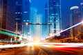 Light trails on the street in shanghai china Royalty Free Stock Photography