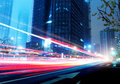 Light trails on the street in shanghai china Royalty Free Stock Image
