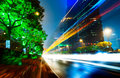Light trails on the street in shanghai china Stock Photography