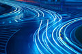 Light trails on the urban road abstract background Royalty Free Stock Photos
