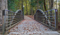 Light Trimmed Wooden Bridge on Park Trail Royalty Free Stock Photo
