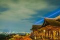 Light up laser show at beautiful architecture in kiyomizu dera temple kyoto japan Royalty Free Stock Photos