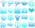 Lightblue tones glossy icon set 101 Stock Photo