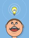 Lightbulb above head hovering cartoon Royalty Free Stock Images