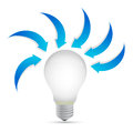 Lightbulb with arrows around illustration design over a withe background Royalty Free Stock Image