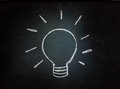 Lightbulb on a blackboard light bulb sketched representing ideas and inspiration or energy and power Stock Image