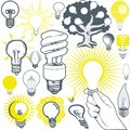 Lightbulb collection clip art of icons and elements Royalty Free Stock Photos