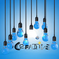 Lightbulb d and design word creative as concept Stock Photography