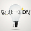 Lightbulb d and design word education as concept Stock Image