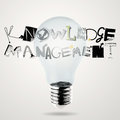 Lightbulb d and knowledge manegement design word as concept Royalty Free Stock Photos