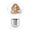 Lightbulb with gears on white background d render Royalty Free Stock Images