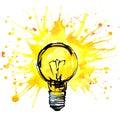 Lightbulb idea concept watercolor illustration. hand drawn sign Royalty Free Stock Photo