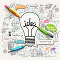 Lightbulb ideas concept doodles icons set. Royalty Free Stock Photo
