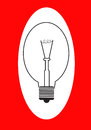 Lightbulb the illustration on a red background Royalty Free Stock Photo