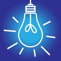 Lightbulb lit white and blue icon on bright idea inspiration concept Royalty Free Stock Image