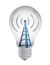 Lightbulb and wifi tower Royalty Free Stock Photo