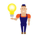 Lightbulb worker illustration of on white background Royalty Free Stock Photos