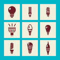 Lightbulbs icon set illustration light bulb icons lighting equipment symbols silhouette Stock Photo