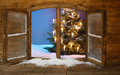 Lighted Christmas Tree View from Window Pane Royalty Free Stock Photo