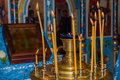 Lighted Church candles in the Orthodox Church Royalty Free Stock Photo