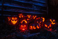 Lighted Halloween Pumpkins Stock Photos