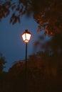 Lighted lantern on a dark blue sky