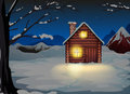 A lighted log house at the snowy land illustration of Stock Image