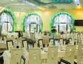 Lighted restaurant interior and ballroom with original windows Stock Photos