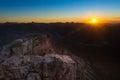 Lighted rocks of sunset sun on austrian alp mountains Stock Images
