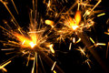 Lighted sparklers. Royalty Free Stock Images