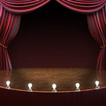 Lighted stage background music comedy or performing arts concept with room for text or copy space advertisement part of a Stock Image
