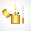 Lighter and cigarette realistic golden on white background Royalty Free Stock Image