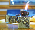 Lighter with Flame Royalty Free Stock Photo