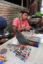 Lighters people receive repair services and charging in sukoharjo central java indonesia Royalty Free Stock Image