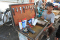 Lighters people receive repair services and charging in sukoharjo central java indonesia Stock Images