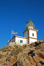 Lighthouse in akrotiri santorini island greece Stock Photos