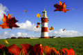Lighthouse in autumn, Plymouth, UK Royalty Free Stock Photo
