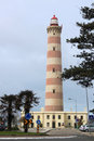 Lighthouse of aveiro in praia da barra s located portugal with cloudy skies Royalty Free Stock Photo