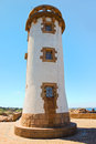Lighthouse in Brittany on Pink Granite Coast Stock Photo