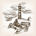 Lighthouse building hand drawn sketch style vector