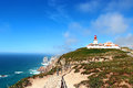 Lighthouse at cabo da roca portugal cape the westernmost point of continental europe Royalty Free Stock Photography